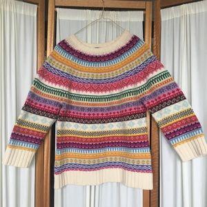 GAP striped lambs wool sweater 3/4 sleeve L